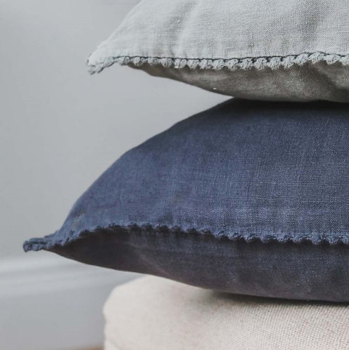 Charcoal Stonewashed Linen Cushion with LaceEdging