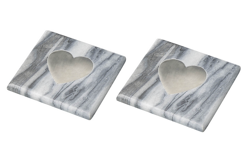 Set of 2 Square Marble Coasters with Silver Heart