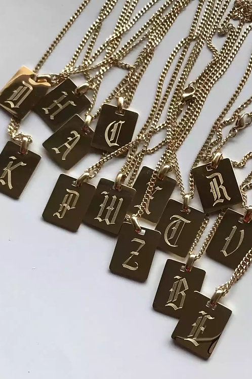 18 inch engraved initial necklace