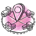 Pick and pin a location surrended by various amenities.