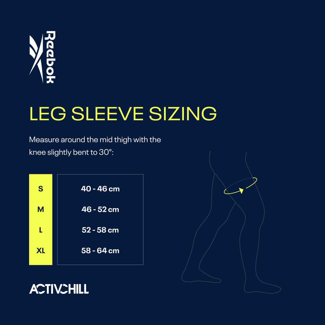 Reebok ACTIVCHILL Leg Sleeves Sizing Chart