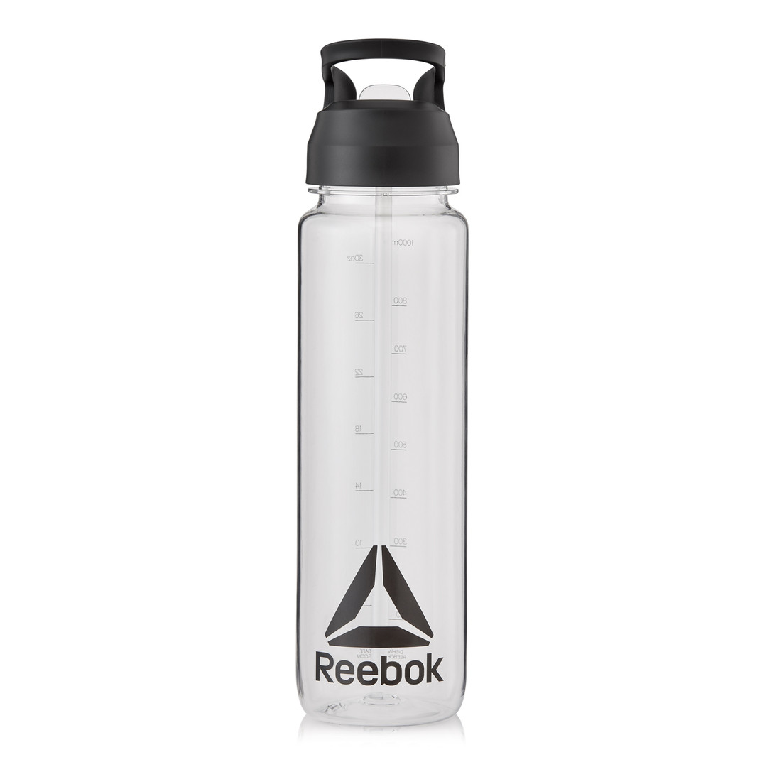 Reebok clear sports water bottle with flip straw