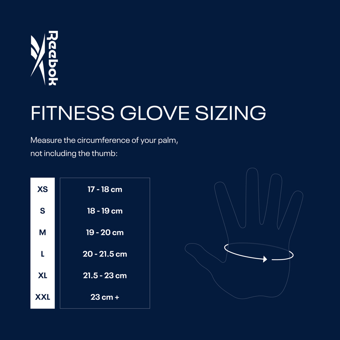 Reebok Speedwick Fitness Gloves Sizing Chart
