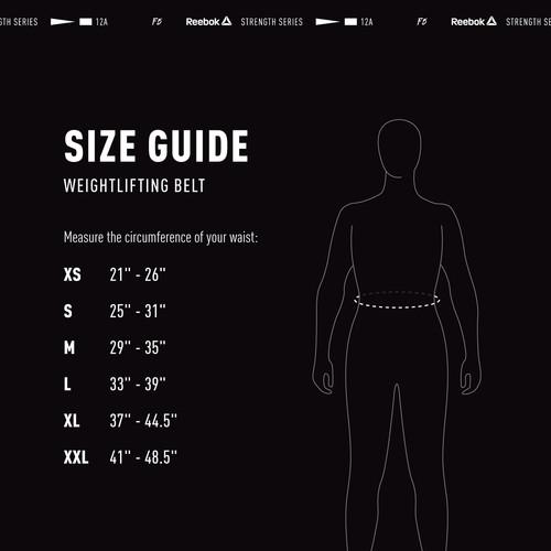 Reebok Weightlifting Belt Size Guide