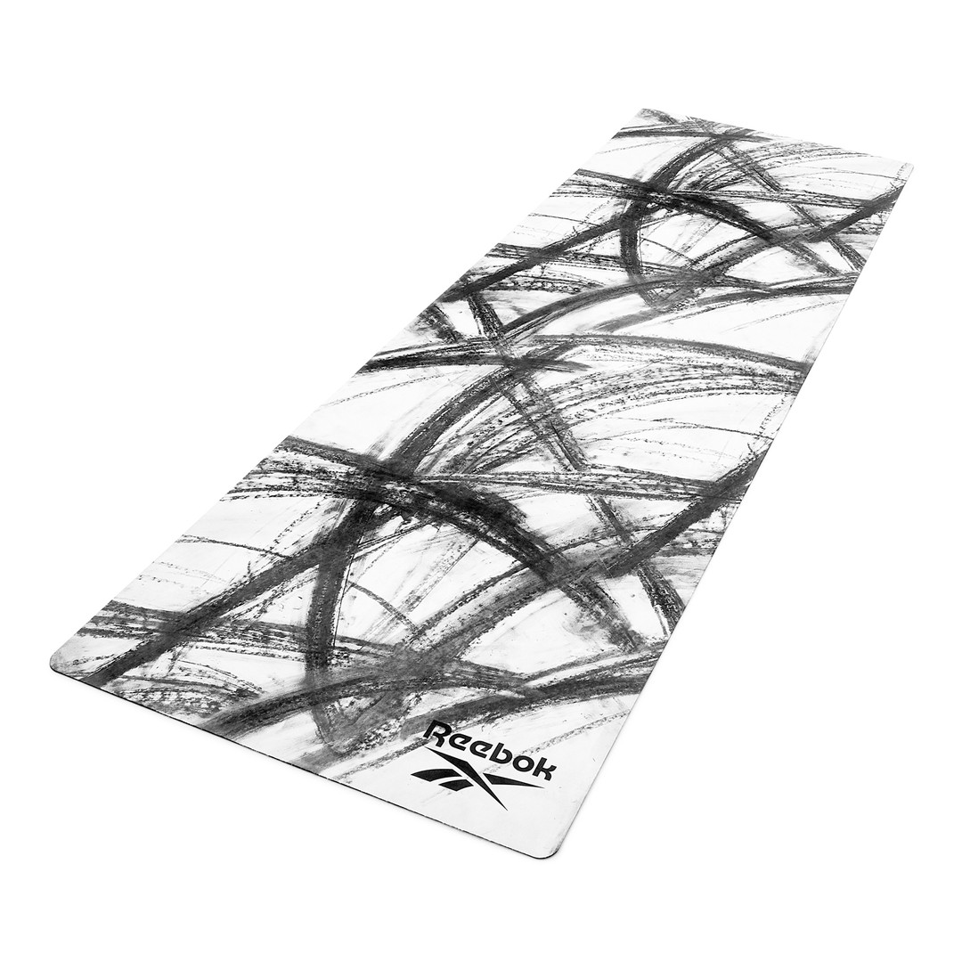 Reebok black and white natural rubber yoga mat