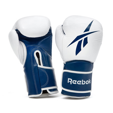 Reebok blue and white leather boxing gloves