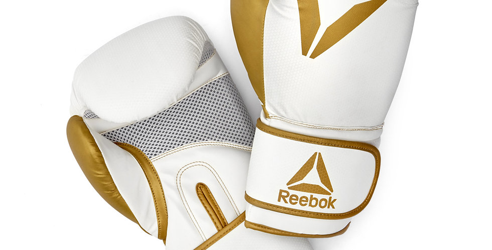 Reebok white and gold combat boxing gloves
