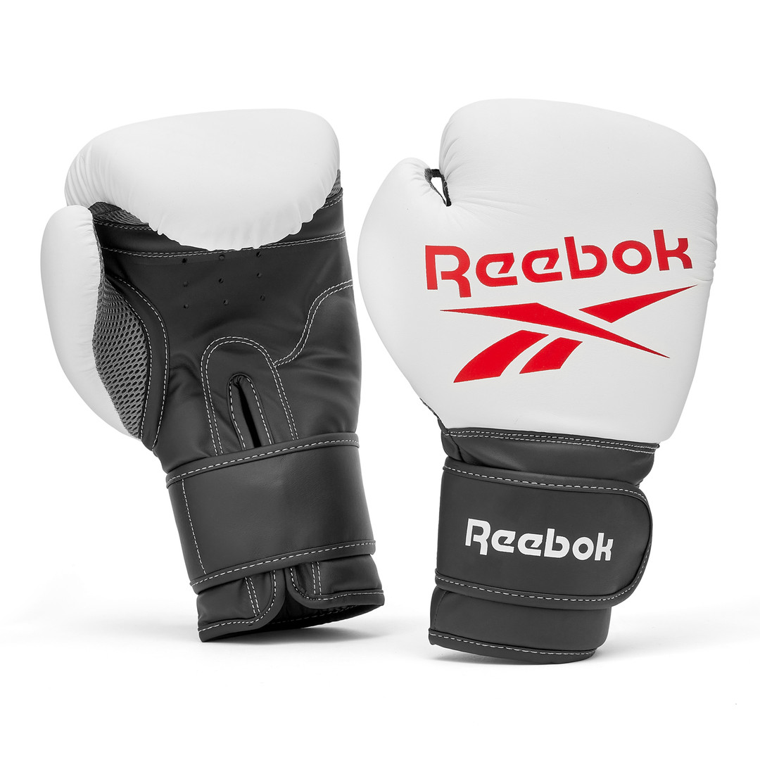 Reebok black, white and red boxing gloves