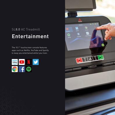 sl8.0 treadmill ac entertainment