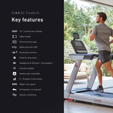 sl8.0 treadmill ac key features