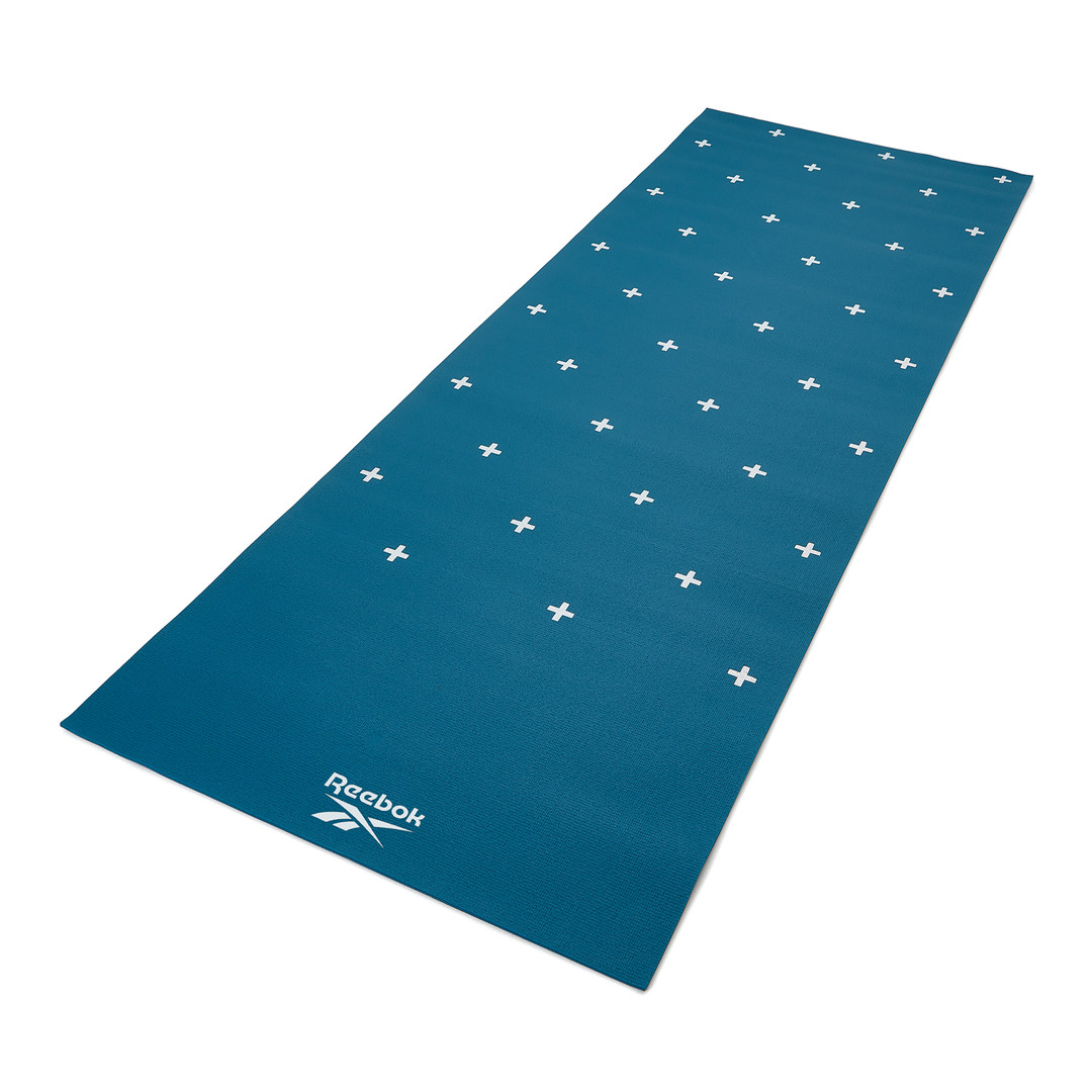 Reebok 4mm teal stripes and crosses patterned yoga mat
