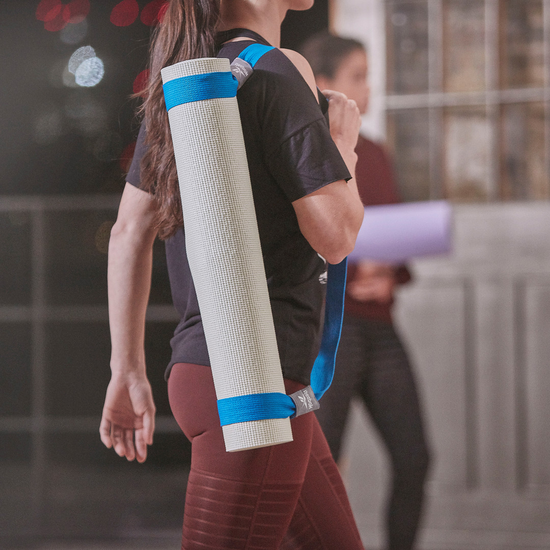 Blue Reebok yoga mat carry strap