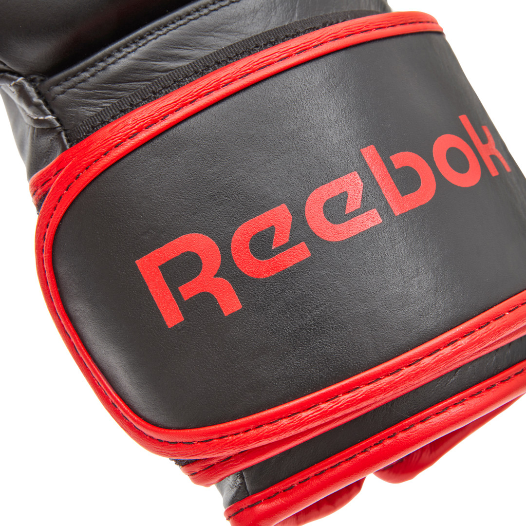 Reebok black and red leather boxing gloves