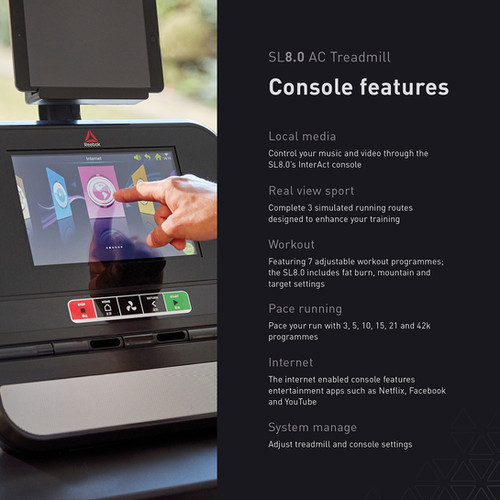 sl8.0 treadmill ac console features