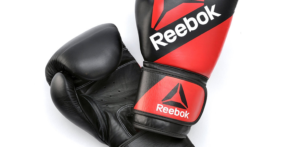 Reebok Combat Leather Training Gloves Red and Black