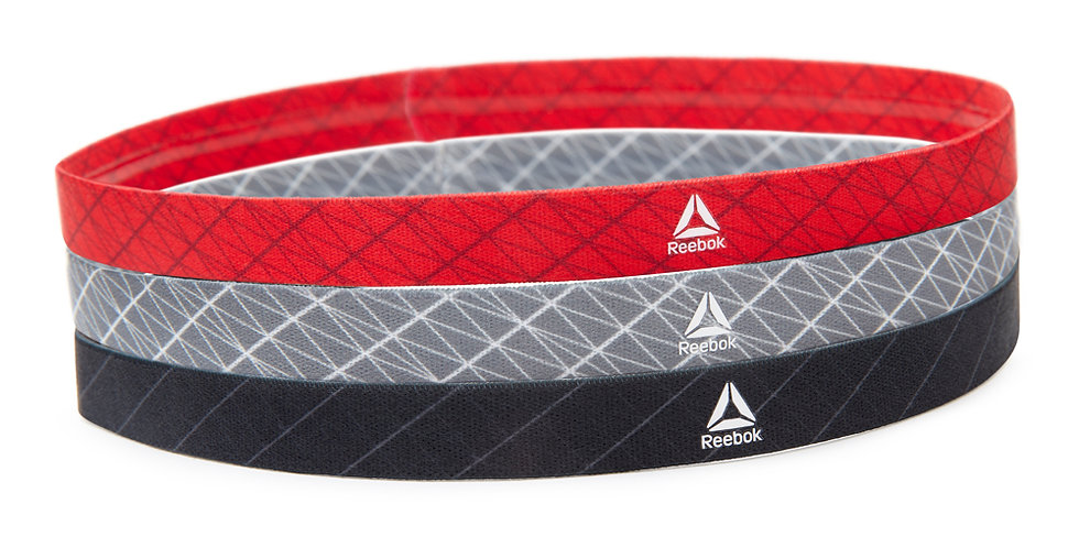 Reebok Sports Hair Bands - Black, Grey and Red