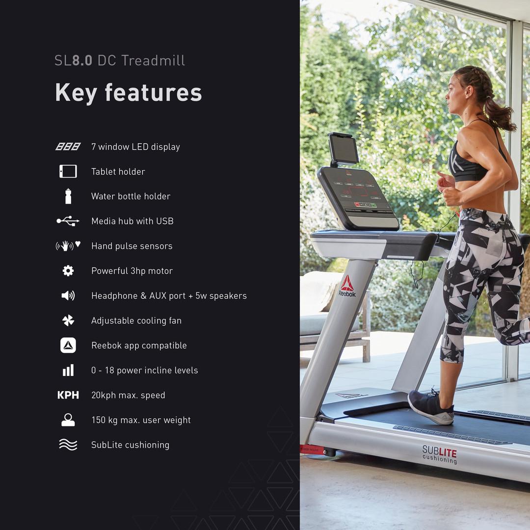 Reebok SL8.0 Treadmill (DC) Features
