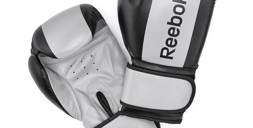 Reebok grey and black boxing gloves