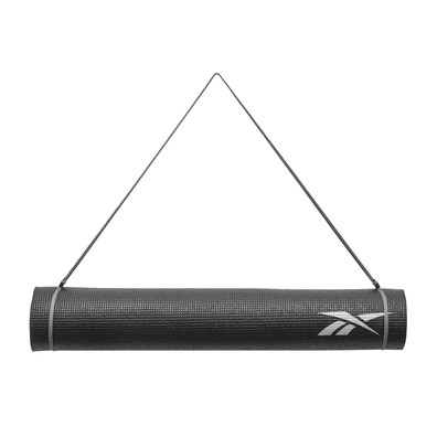 Reebok 4mm black graphic yoga mat and carry strap