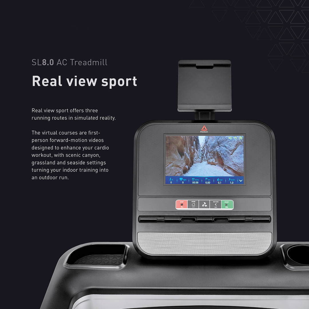 sl8.0 treadmill ac real view sport