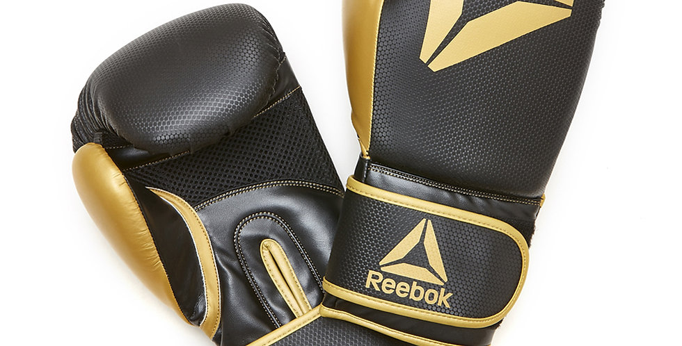 Reebok black and gold combat boxing gloves