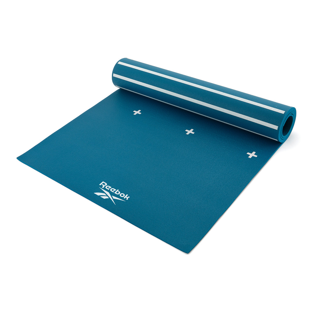Reebok 4mm green blue stripes and crosses patterned yoga mat