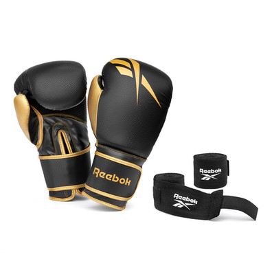 Black and Gold Gloves and Wraps Boxing Set