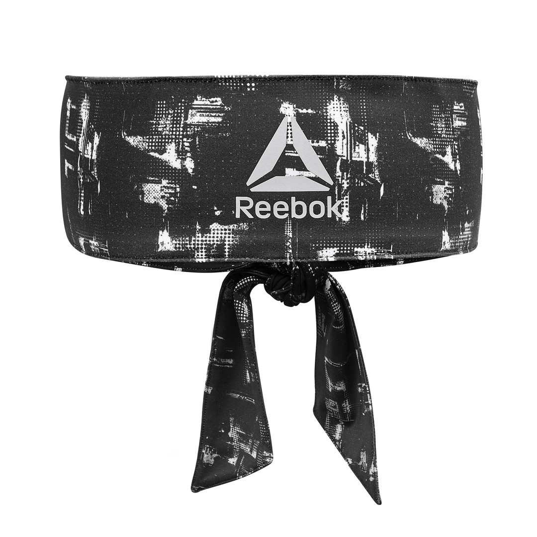 Reebok Black & White Geocast Tie Headband