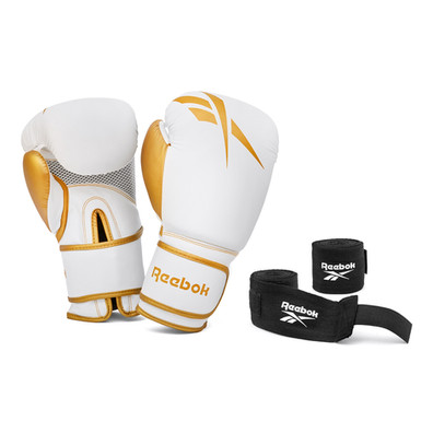 White and Gold Gloves and Wraps Boxing Set