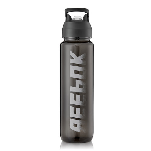 Reebok black water bottle with straw