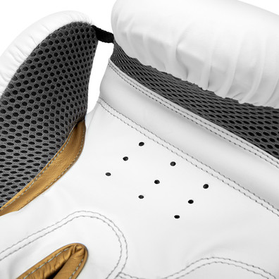 Reebok white and gold boxing gloves