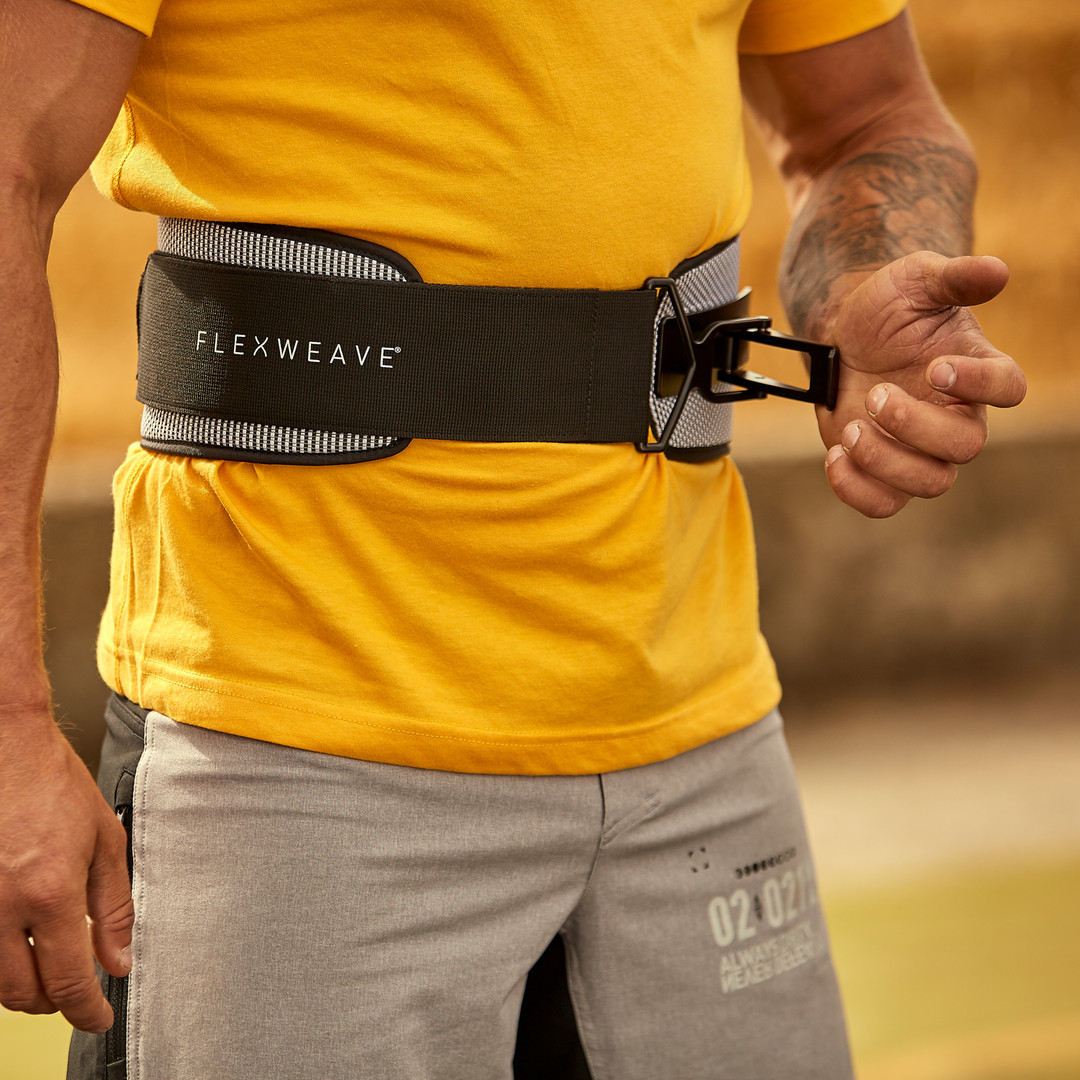 Flexweave Power Weightlifting Belt Black and White