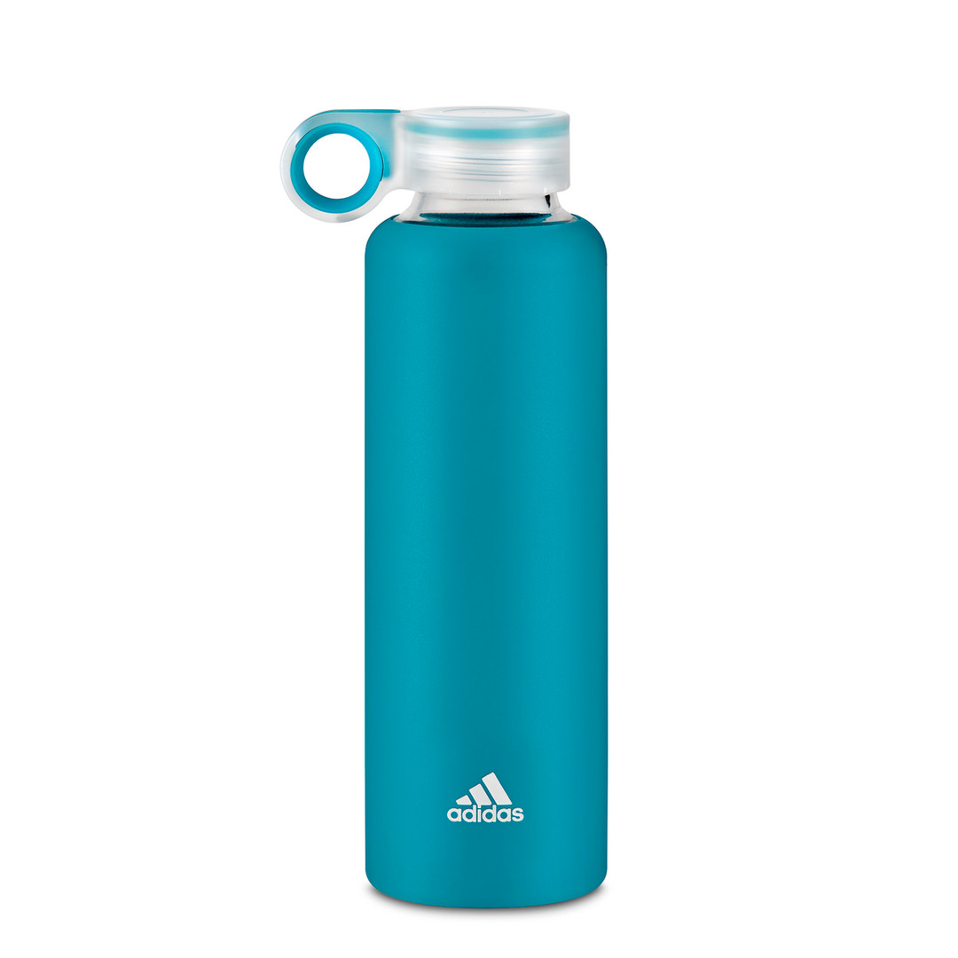 adidas teal glass and silicone water bottle