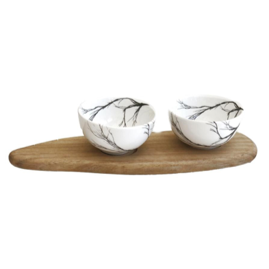 BRANCH SNACK BOWL SET OF 2 & TRAY