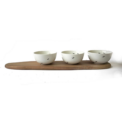 ANT SNACK BOWL SET OF 3 & TRAY