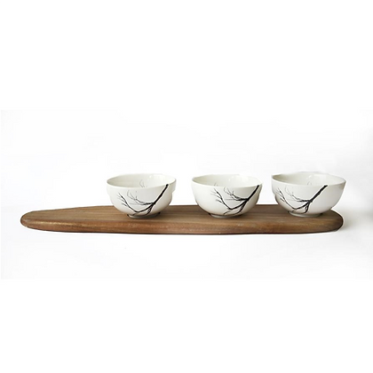 BRANCH SNACK BOWL SET OF 3 & TRAY
