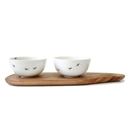 ANT SNACK BOWL SET OF 2 & TRAY