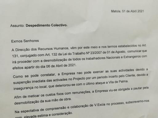 WBHO despede todos os trabalhadores devido a insegurança em Palma leva