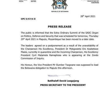 Indisponibilidade de Ramaphosa e Masisi adia reunião da Troika da SADC