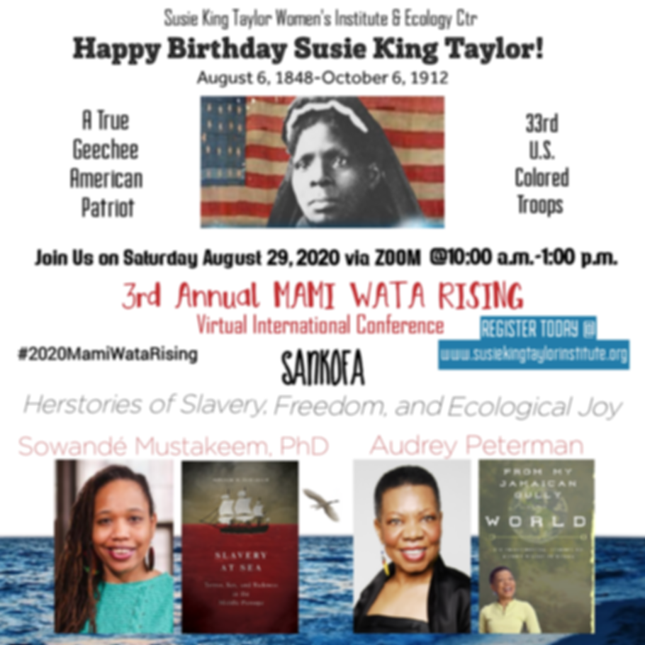 Poster for 2020 Susie King Taylor Mami Wata Rising Conference