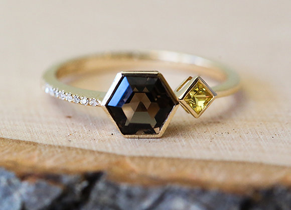 Geometric smokey quartz, yellow sapphire and diamond 14K ring