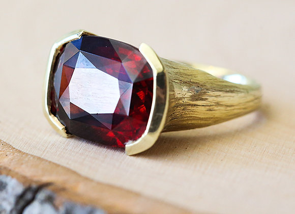 Garnet hassanite 10k yellow gold ring