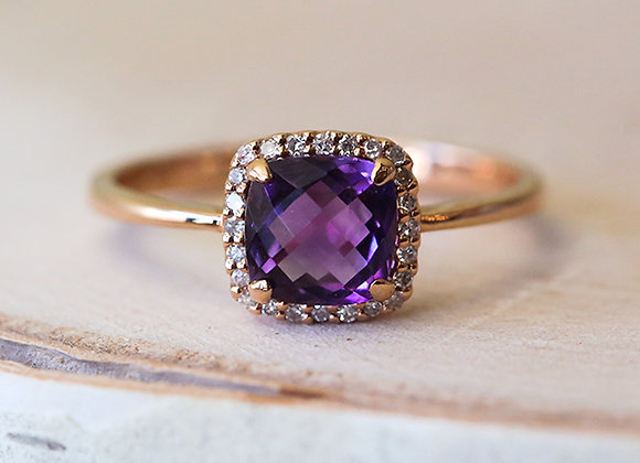 Cabochon amethyst and diamond 14k rose gold ring