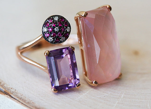 14k rose gold ring with rose quartz, rubies and diamonds