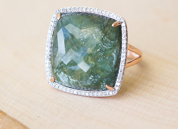 14k rose gold ring with diamonds and seraphinite center stone