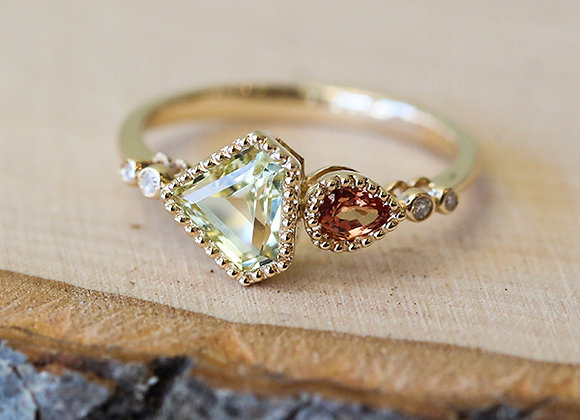 Lemon quartz, orange sapphire, and diamond 14k yellow gold ring