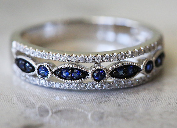 14k white gold ring with diamonds and blue sapphires