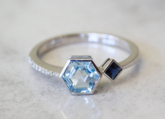 Blue topaz and sapphire 14k white gold ring with diamonds