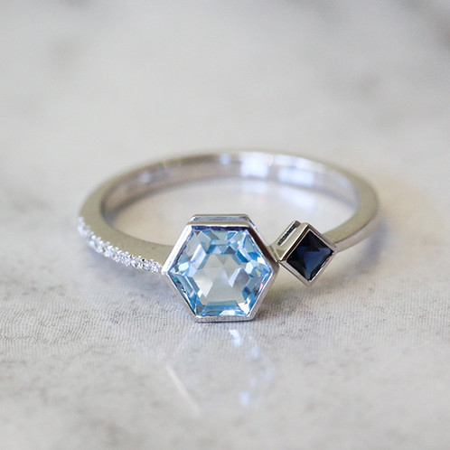c1a36fa5cb02af Blue topaz and sapphire 14k white gold ring with diamonds