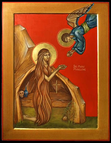 icône de Sainte Hildegarde de Bingen: Compositrice, docteur, abbesse, botaniste, femme de lettre, conseillère des papes et des rois.... C'est l'auteur d'une œuvre immense et variée, directement inspirée par ses visions.
